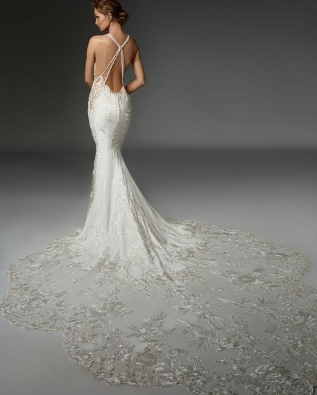 Beautiful Lace Train Open Back - Bridal salon houston