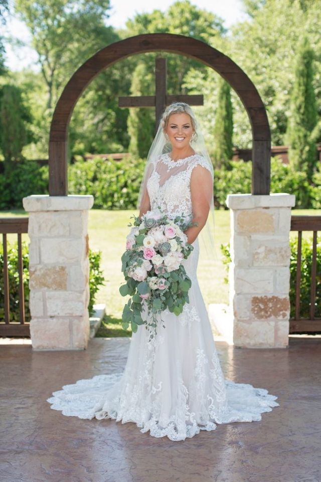 Illusion Lace Fitted Wedding Dress, Kenneth Winston